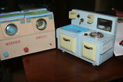 Vintage 1950s Japan Tin Battery Operated Toy Stove Sink And Washer And Dryer