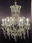 """Antique Vintage French Macaroni Beaded Crystal Chandelier 8 Light 28"""" Silver"""