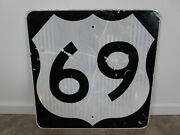 Rare Authentic Retired Us Highway 69 Kansas Road Sign Man Cave Decor 24 By 24