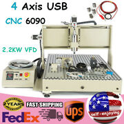 Usb 4 Axis 6090 Router 3d Engraver Mill Drill Carving Machine 2200w + Rc Good