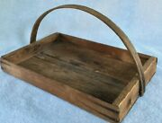 Primitive Wood Pine Farmhouse Garden Gathering Tool Tray Tote Bentwood Handle