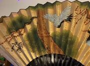 Vintage Antique Large Hand Painted Bird Scene Silk French Hand Fan Signed