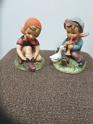 2 Vintage Porcelain Erich Stauffer Open Laces And Barnyard Frolics Figurines