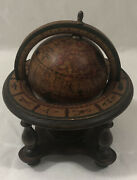 Vintage Old World Globe With Astrology Zodiac Signs - Wooden Stand Made In Italy