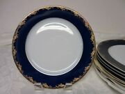 8 Rosenthal Frederick The Great Cobalt And Gold Classic Rose Lunch Plates 8 1/2