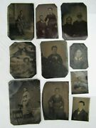 Antique Tintype Photo Lot X10 Picture Man Portrait Old Tin Type Suit Girls