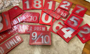 Huge Lot Vtg 117 Piece Red White Plastic Gas Station Numbers Signs Advertising