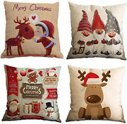 Yooqi Christmas Pillow Covers 18 X 18 Inches Set Of 4 Pcs Xmas Series Cotton