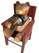 Hand Carved Wood Teddy Bear Siting In Dolls Chair Toy Wooden Ball Vtg Primitive