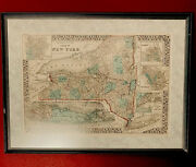 S. Augustus Mitchell 1876 Original Antique Map Of Ny State Framed And Matted