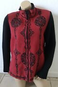 Coldwater Creek Womens Plus Size 1x Full Zip Embroidered Long Sleeve Jacket