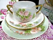 German Tea Cup And Saucer Trio Cream Soup Painted Floral Artist Signed Teacup