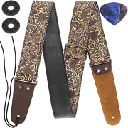 Guitar Strap Stamped Leather Guitar Strap Pu Leather Western Vintage 60and039s Retro