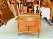 Beautiful Small Antique French Country Tiger Oak Carved Vanity