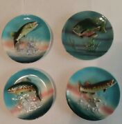 4 Napco Ceramic 3d Fish Wall Plates Northern Pike Sunfish Trout Muskellunge