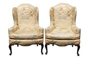 Knob Creek Floral Wingback Chairs - A Pair