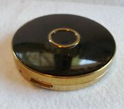 Vintage Art Deco Charles Of The Ritz Black And Gold Powder Compact With Mirror