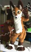 Cosplay Party Brown Long Fur Wolf Dog Fursuit Mascot Furry Costume Adult Outfit@
