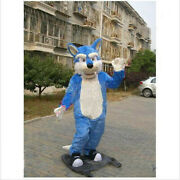 Cute Adult Cute Blue Wolf Cartoon Adult Mascot Costumes Halloween Party Outfits