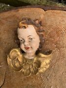 Vintage Bavarian Carved Wooden Angel Head Church Chapel Polychrome Gesso Wall