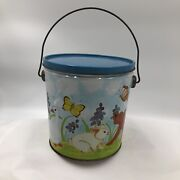 Vintage Metal Bucket With Lid Children's Lunch Pail Or Toy General Can Corp.vguc