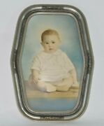 Antique Vtg 12x17 Carved Wood Frame Sweet Baby Photo Portrait Picture No Glass
