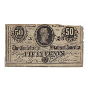 1864 50 Cent Confederate States Of America Note T72 Circulated