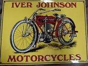 Vintage Iver Johnson Motorcycles Embossed Tin Sign By Desperate Sign Co. Mancave