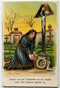 1900s Forgive Us Our Trespasses Woman Praying Cemetery Postcard Lordand039s Prayer