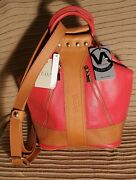 Nwt Valentina Italy Made Convertible Pebbled Leather Two Tone Backpack Bag Red