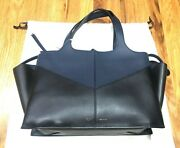Nwt 3400 Authentic Celine Black Blue Leather Tri-fold Tote Bag Womenand039s Purse