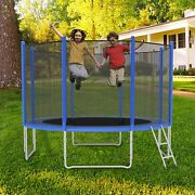 Luckyermore 12ft Trampoline Kids Jumping Bounce Safety Net Enclosure Pad Combo