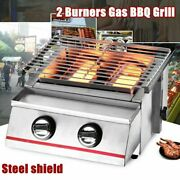 Outdoor Tabletop Stainless Steel Camping Gas Grill Portable Burner Bbq Party