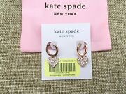 New Kate Spade New York Clear/rose Gold Yours Truly Pave Heart Drop Earrings