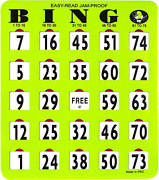 Mr Chips Jam-proof Easy-read Large Bingo Cards With Sliding Windows - 50 Cards