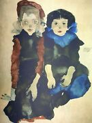 Egon Schiele Two Little Girls Plate Signed Chromolithograph
