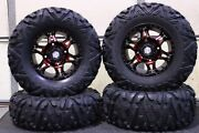 Rzr 900 29 Quadking Radial 8 Ply Atv Tire 14 Hd7 Red Wheel Kit Pol10k
