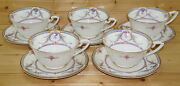 Royal Worcester Rosemary Sky Blue 5 Breakfast Cups, 2 1/2 X 4 3/4 And Saucers
