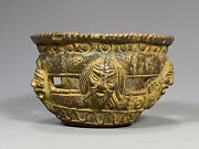 Neo Classical Roman Style Pottery Bowl W/ Theater Mask Decor Signed Ca. 20th C.