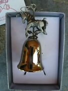 Wallace Silversmith Antique Bell Solid Pewter Holiday Carousel Horse Boxed Usa