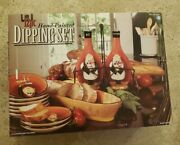 Tracy Flickinger Certified International 12 Pc Fat Chef Hand Painted Dipping Set