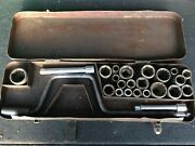 """Vtg Indestro 1/2"""" Socket Set Chicago. Made Usa -extensions- 25 Pieces-metal Box"""