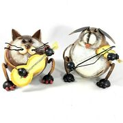 Metal Anthropomorphic Dog And Cat Band Figurines Playing Instruments Violin Guitar