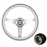 For 94-01 Integra 350mm White Wood Steering Wheel W/ Mobil White And Hub Adapter