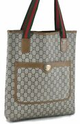Auth Gg Plus Web Sherry Line Shoulder Tote Bag Pvc Leather Brown C6278