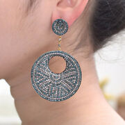 Diamond Pave 14k Gold Dangle Earrings 925 Silver Wedding Gift For Woman Jewelry