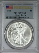 1991 American Silver Eagle Pcgs Ms68 - First Strike
