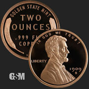 2 Oz .999 Copper Round Lincoln Wheat Cent Golden Sate Mint 1909 S Vdb Penny Cent