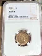 1863 1c Indian Head Cent Ngc Ms63 Freshly Graded