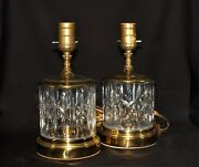 Set Of Two Waterford Crystal And Brass Table Lamps